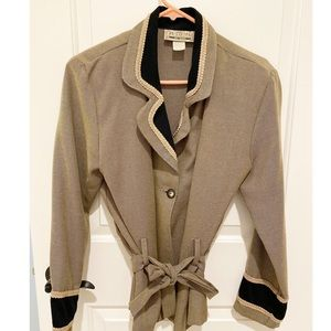 Light Tan & Black Blazer with Embroidered Trim